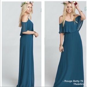 Teal show me your mumu Caitlyn ruffle maxi dress